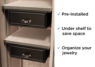 """Premium 20 Feature Two under-the shelf 6.5"""" jewelry drawers installed!"""